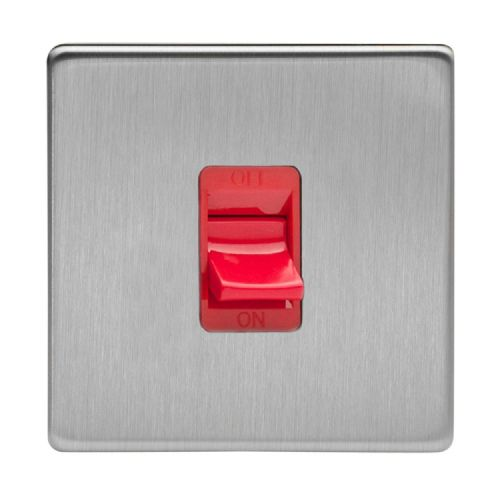 Varilight XDS45SS Screwless Brushed Steel 45A DP Cooker Switch Single Plate